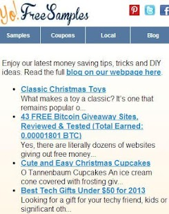 Yo Free Samples Android App - screenshot thumbnail