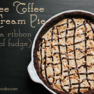 Coffee Toffee Ice Cream Pie with a Ribbon of Fudge