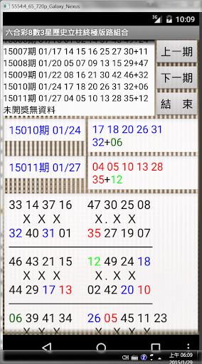 10六合彩8數3星歷史立柱終極版路組合