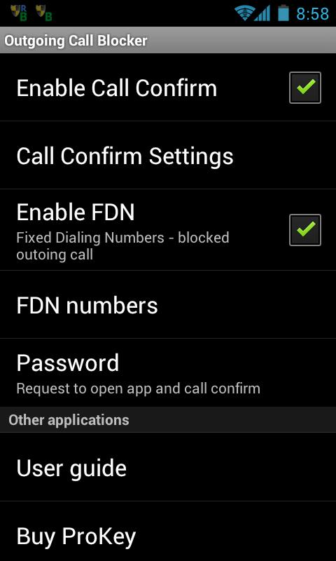 Outgoing Call Blocker- screenshot