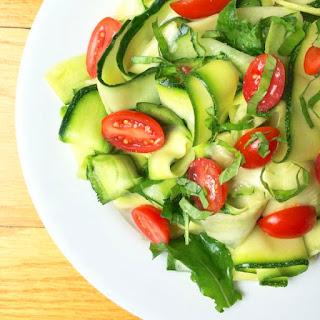 Zucchini Cucumber Ribbon Salad with Lemon Basil Vinaigrette