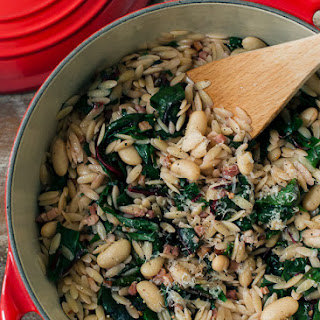 Swiss Chard with Orzo, Cannelini Beans and Pancetta