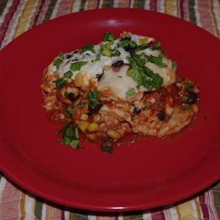 Mexican Beef Lasagna With Corn And Black Olives.
