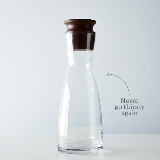 Glass Carafe with Walnut Stop