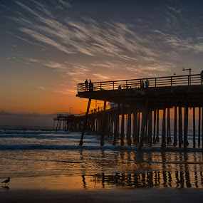 Pismo Pier Sunset by Tom Reiman - Landscapes Sunsets & Sunrises ( colorful, sunset, pier, pismo, central california, seascape,  )