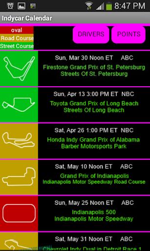 Indycar 2014 Calendar