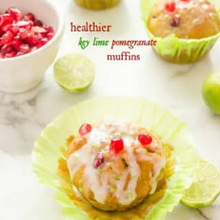 Healthier Key Lime Pomegranate Muffins.