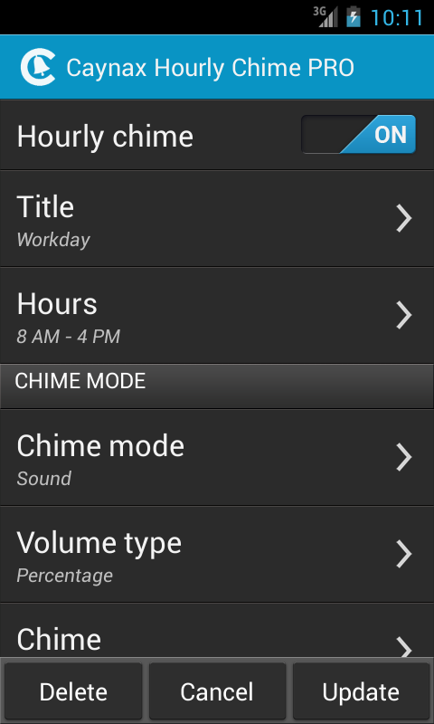 Hourly chime PRO - screenshot