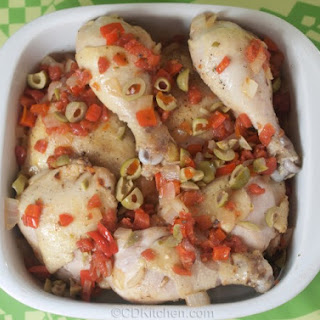 Spanish Chicken With Tomatoes, Peppers, And Olives.