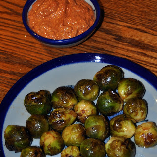 Marinated Grilled Brussels Sprouts with Walnut-Sage Romesco Sauce.