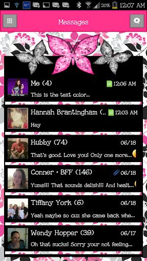GO SMS - Cute Butterfly 8