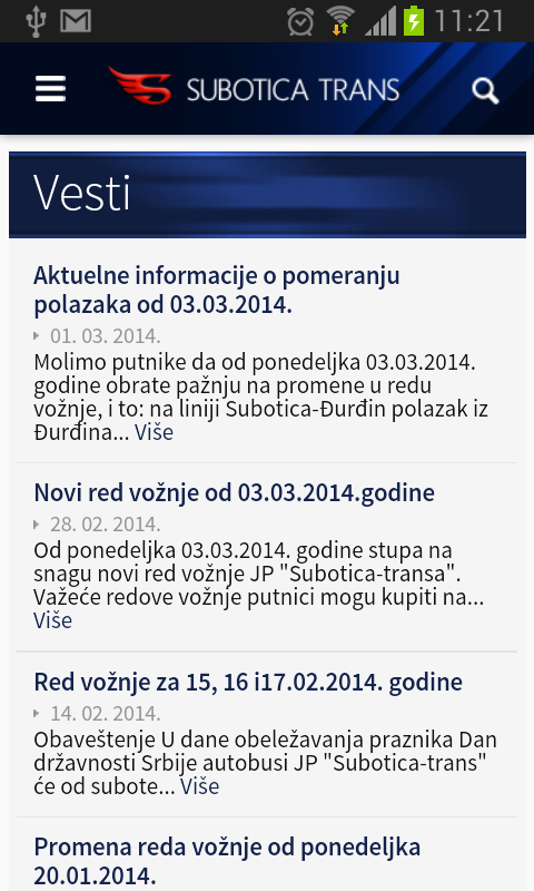 SuTrans - Red vožnje- screenshot