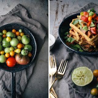 Savory Cheddar & Cornmeal Waffles With Green Tomato Salsa & Cumin Greek Yogurt