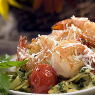 Pesto Shrimp With pan-roasted Tomatoes.