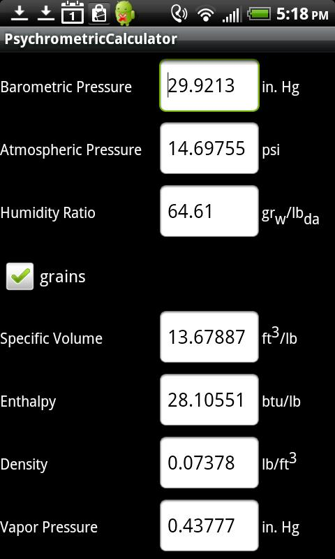 Air Lite Psychrometric Calcs- screenshot