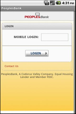PeoplesBank Mobile Banking App - screenshot