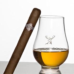 Cigar and Scotch by Zetsu Nawa - Food & Drink Alcohol & Drinks ( cigar, reflection, scotch, glass, glenfiddich )