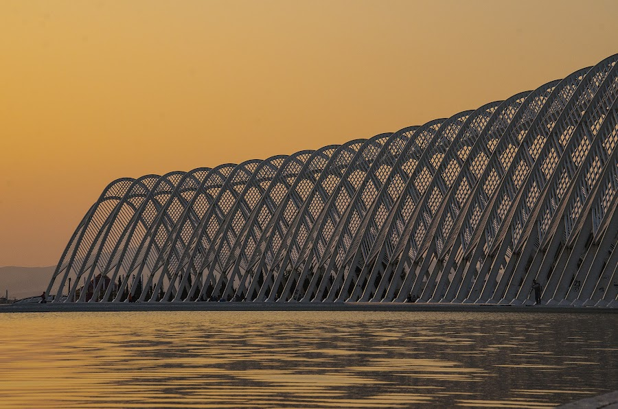 Sunset at OAKA by Sergio Georgakopoulos - Buildings & Architecture Bridges & Suspended Structures ( water, structure, sky, pool, sunset, oaka, greece, athens, agora )
