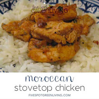 Authentic Stovetop Moroccan Chicken Recipe with Rice.