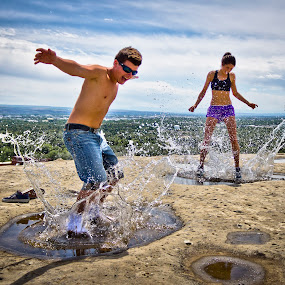 by Will Ballew - People Couples ( water, splash, summer, puddle, sunglasses )