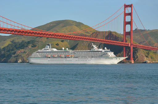 Crystal-Symphony-San-Francisco - Crystal Symphony sails under the Golden Gate Bridge in San Francisco.