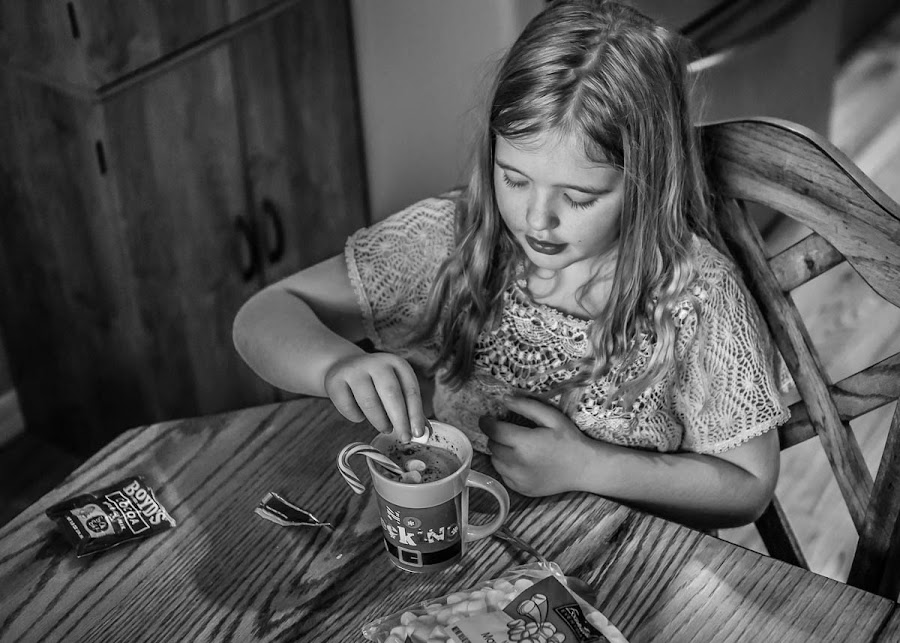 Special After School Snack by Nicole Mitchell - Black & White Portraits & People ( girl, hot chocolate, candy cane, yummy, snack, marshmallows )