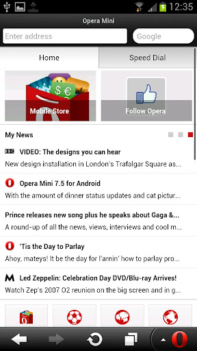 opera mini apk home