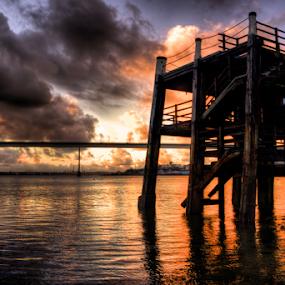 To Pier A Bridge by Simon Eastop - Landscapes Waterscapes ( wales, cleddau, pembrokeshire, burton, pier, bridge,  )