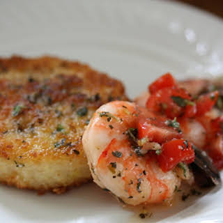 Pan-Fried Cheese Grits Cakes with Lemon and Olive Oil Marinated Shrimp.