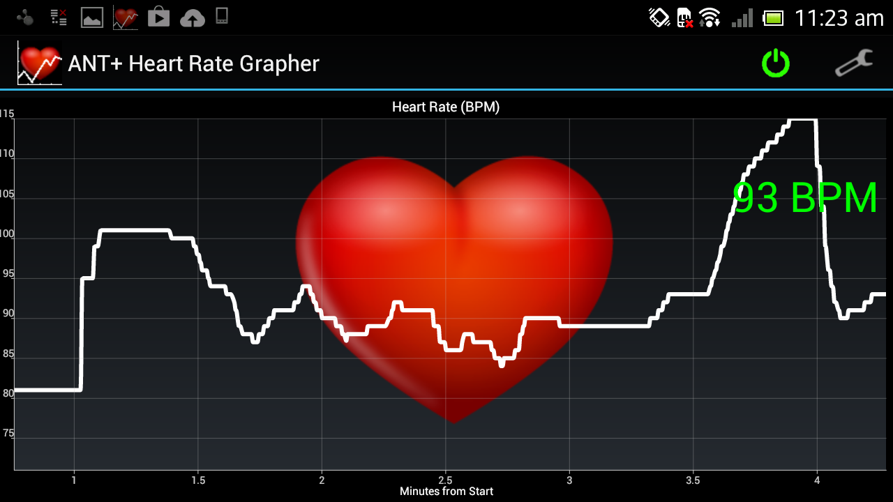 Heart rate apps such as pulse phone and heart rate - Ant Heart Rate Grapher Screenshot