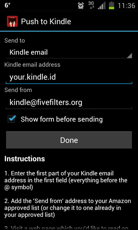 Push to Kindle- screenshot