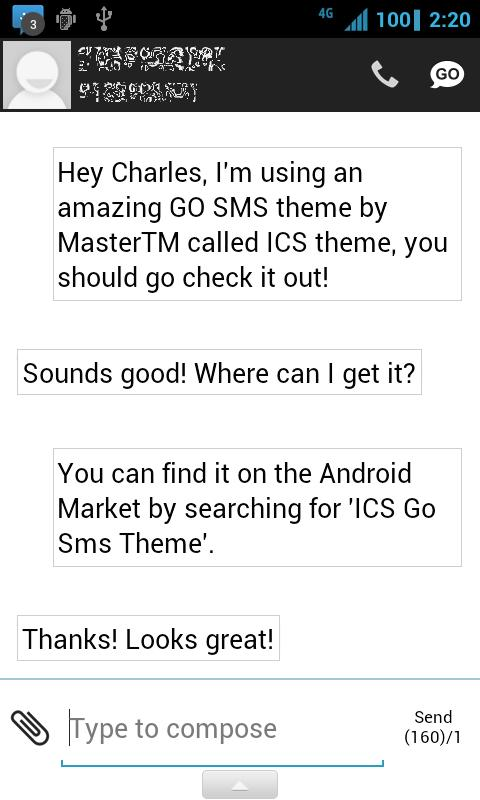 ICS GO SMS Theme - screenshot