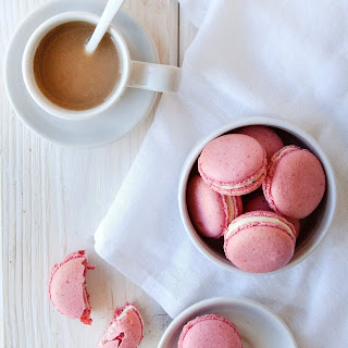 Raspberry-Coconut French Macarons.