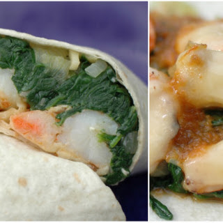 Healthy Shrimp Sandwich Wrap with Curry Yogurt & Spinach