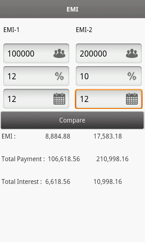 EMI Calculator - screenshot