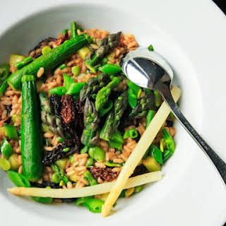 Spring Vegetable Risotto With Asparagus, Zucchini, Fava Beans, Snap Peas, and Morels.
