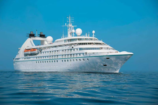 Windstar Cruises' Star Breeze anchored in Venice. Notice the large round domes atop the ship: They're protective shells that encase free-moving antennas that transmit satellite communications.