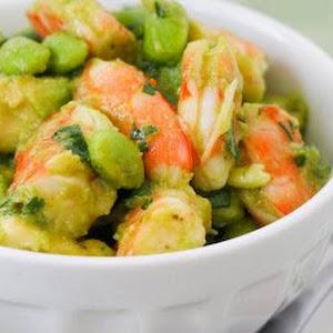 Shrimp and Avocado Salad with Edamame, Cilantro, Chipotle, and Lime