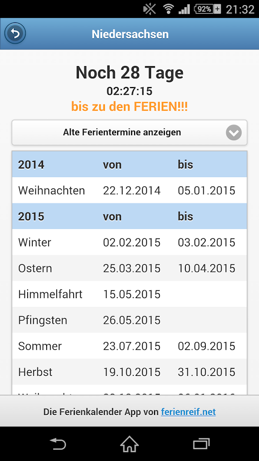 Ferienkalender Countdown- screenshot