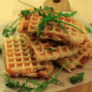 Salty Express Waffles with Dried Tomatoes and Feta Cheese