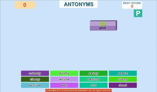 WORDFALL verb synonym antonymS- screenshot thumbnail