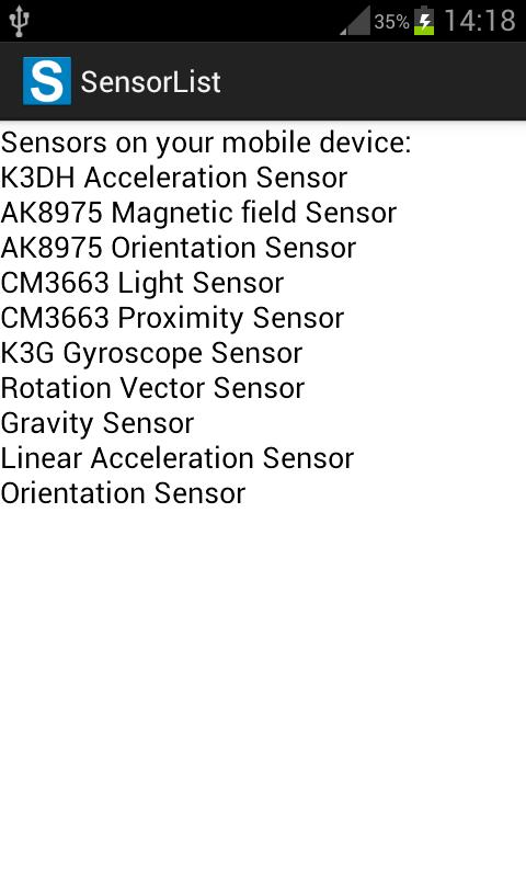 Sensor List - screenshot