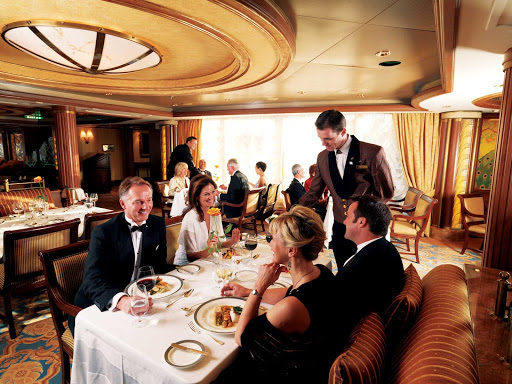 Cunard-Queen-Victoria-Queens-Grill -  Enjoy dining in Queens Grill Restaurant, the most luxurious dining venue aboard Queen Victoria. The à la carte menu is  accompanied by smart, attentive service.