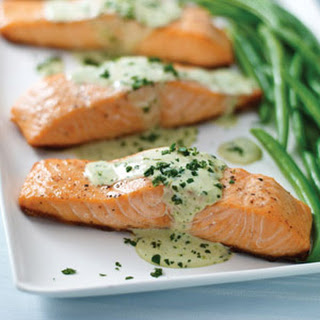 Grilled Salmon with Pesto Sauce.