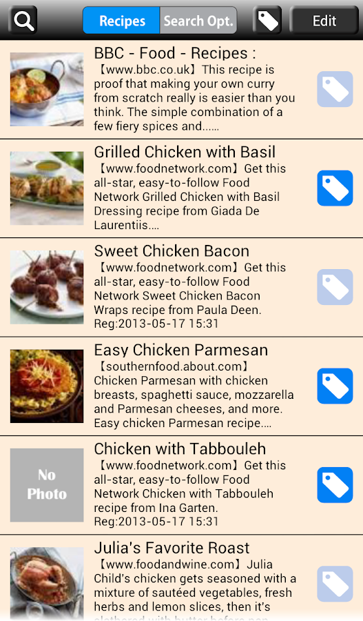 Recipe Search for Android- screenshot