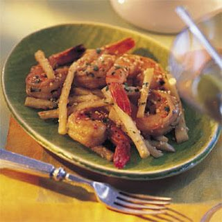 Shrimp and Jicama in Soy-Sesame Sauce