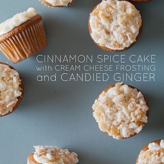 Cinnamon Spiced Mini Cupcakes Topped with Cream Cheese Frosting and Candied Ginger
