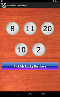 Lottery Number Picker Lite- screenshot thumbnail