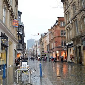 Rainy Manchester by Bonnie Lea - City,  Street & Park  Street Scenes