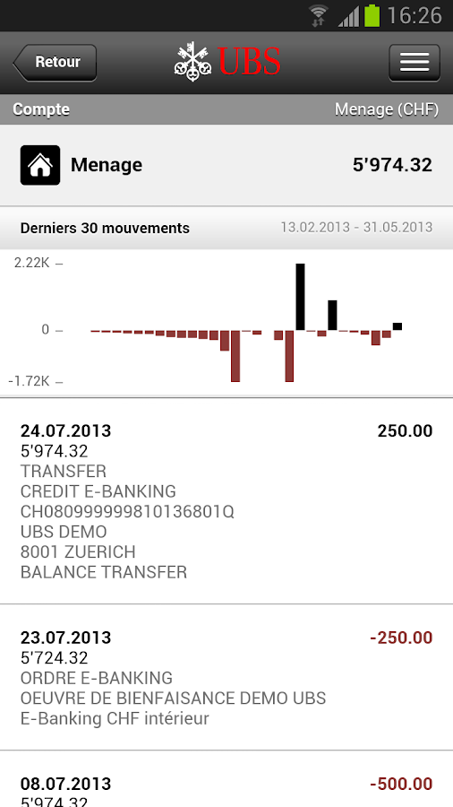 UBS Mobile Banking - screenshot